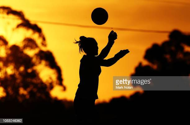 Trudy Burke of Sydney FC warms up before the round one W-League match between the Western Sydney Wanderers and Sydney FC at Marconi Stadium on...