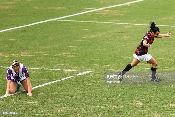 Trudy Camilleri of the Wanderers celebrates scoring her second goal during the round three W-League match betweeh the Western Sydney Wanderers and...