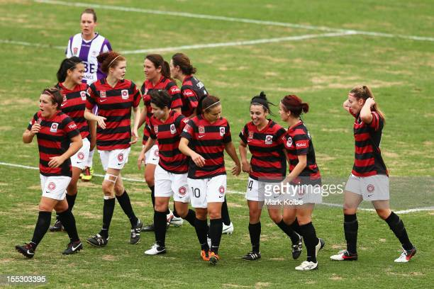 Trudy Camilleri of the Wanderers celebrates with her team mates after scoring a goal during the round three W-League match betweeh the Western Sydney...