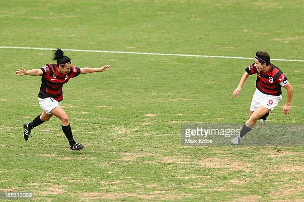 Trudy Camilleri of the Wanderers celebrates with Sarah Walsh of the Wanderers after scoring her second goal during the round three W-League match...