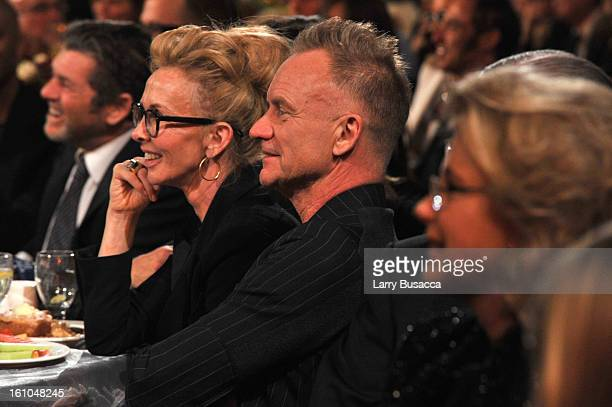 Trudy Styler and singer Sting attend MusiCares Person Of The Year Honoring Bruce Springsteen at Los Angeles Convention Center on February 8 2013 in...