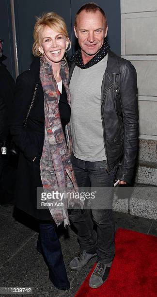 Trudy Styler and Sting attend the opening night of Bengal Tiger At The Baghdad Zoo at the Richard Rodgers Theatre on March 31 2011 in New York City