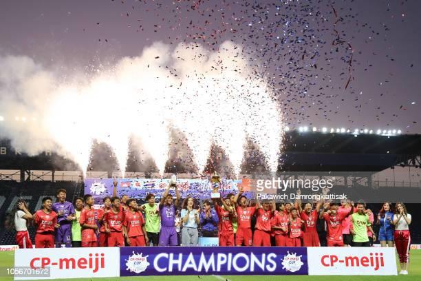 True Bangkok United players and staffs celebrate after winning CP-meiji Cup U-14 International Champions trophy after CP-meiji Cup U-14 International...