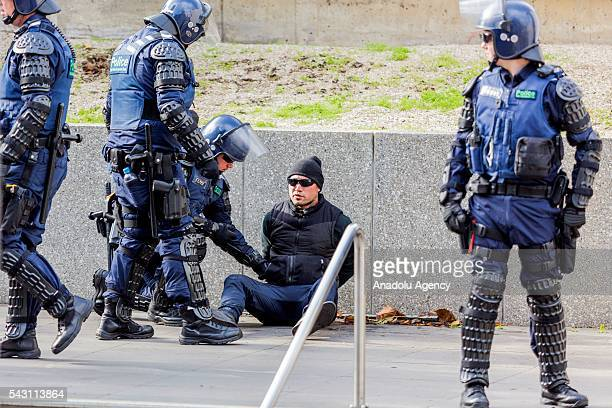 True Blue Crew is arrested by police during a protest organized by the antiIslam True Blue Crew supported by the United Patriots Front in Melbourne...