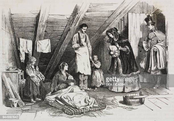 True charity lithograph by Giovanni Mariani after a painting by Karl Girardet from Poliorama Pittoresco n 31 March 8 1845
