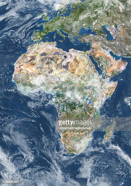 True colour satellite image of Africa with cloud coverage This image in Lambert Azimuthal Equal Area projection was compiled from data acquired by...
