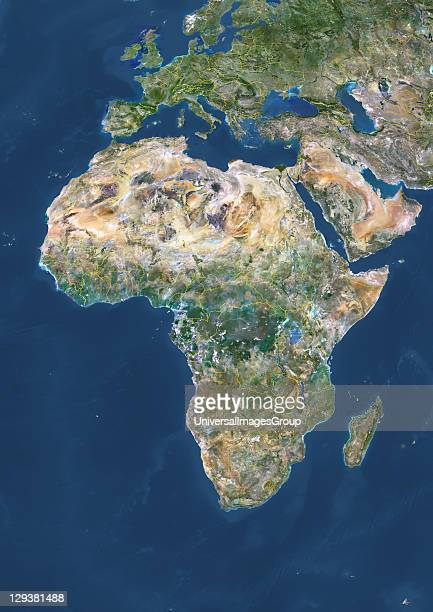 True colour satellite image of Africa with country borders This image in Lambert Azimuthal Equal Area projection was compiled from data acquired by...