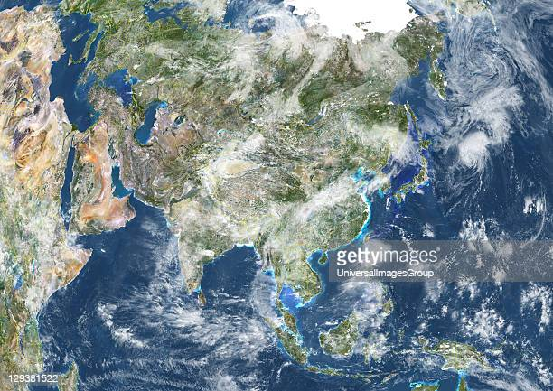 True colour satellite image of Asia with country borders and cloud coverage This image in Lambert Azimuthal Equal Area projection was compiled from...