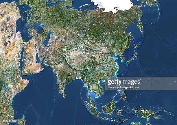 True colour satellite image of Asia with country borders and major rivers This image in Lambert Azimuthal Equal Area projection was compiled from...