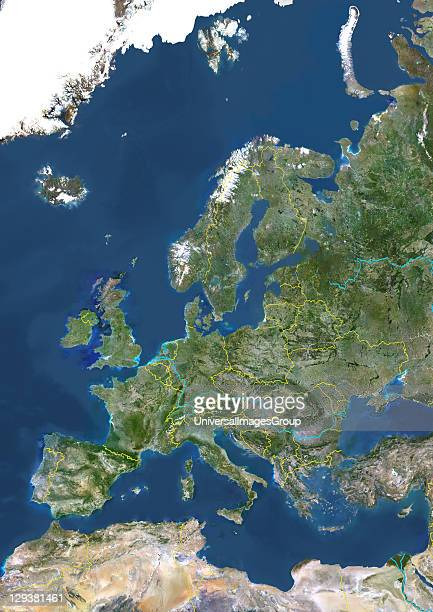 True colour satellite image of Europe with country borders and major rivers This image in Lambert Conformal Conic projection was compiled from data...