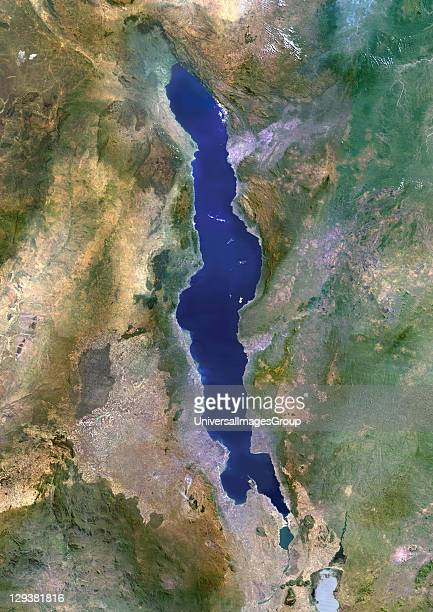 True colour satellite image of Lake Malawi an African Great Lake situated between Malawi Mozambique and Tanzania Composite image using LANDSAT 5 data...