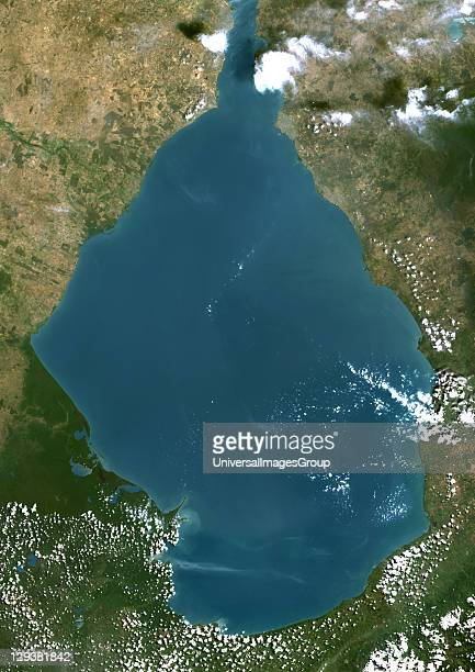 True colour satellite image of Lake of Maracaibo in Venezuela connected to the Gulf of Venezuela by Tablazo Strait at the northern end Composite...