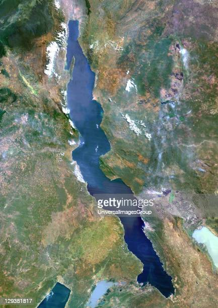 True colour satellite image of Lake Tanganyika an African Great Lake divided between four countries Burundi Democratic Republic of the Congo Tanzania...