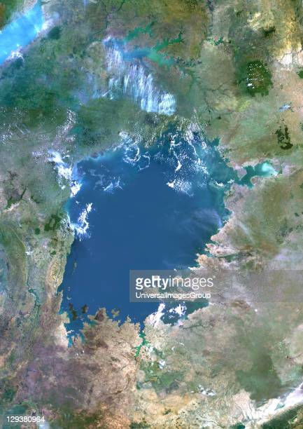 True colour satellite image of Lake Victoria one of the African Great Lakes Lake Victoria is divided between three countries Kenya Uganda and...