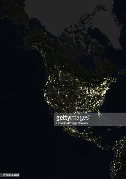 True colour satellite image of North America at night with country borders This image in Lambert Conformal Conic projection was compiled from data...
