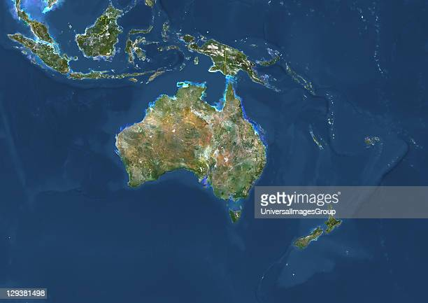 True colour satellite image of Oceania with country borders This image in Lambert Conformal Conic projection was compiled from data acquired by...