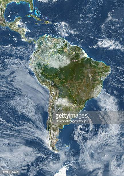 True colour satellite image of South America with country borders and cloud coverage This image in Lambert Azimuthal Equal Area projection was...