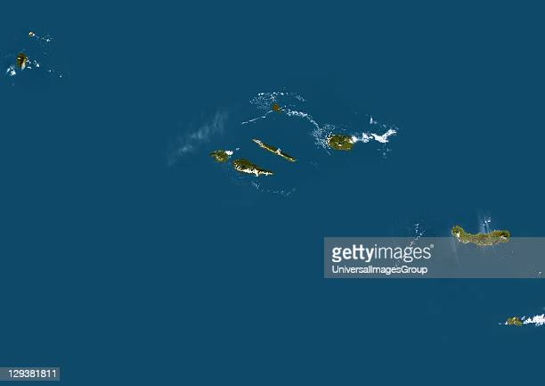 True colour satellite image of the Azores a Portuguese archipelago in the Atlantic ocean The islands are from west to east Corvo Flores Faial Pico...