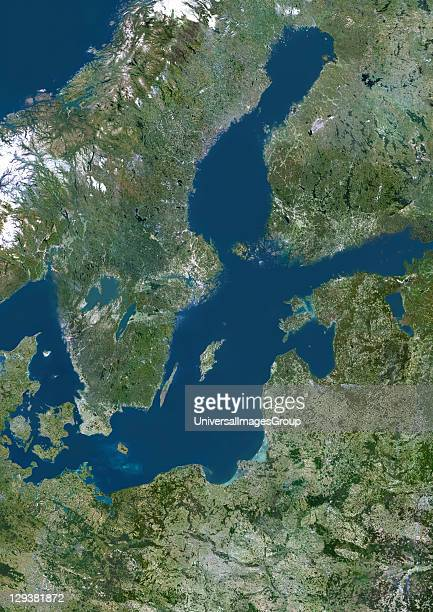True colour satellite image of the Baltic Sea an inland sea located in Northern Europe It is bounded by the Scandinavian Peninsula the mainland of...