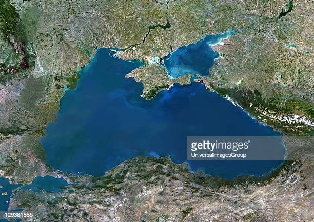 True colour satellite image of the Black Sea an inland sea bounded by Europe Anatolia and the Caucasus It lies between Bulgaria Georgia Romania...