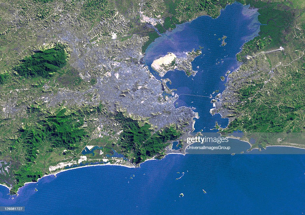 True colour satellite image of the city of Rio de Janeiro, Brazil. Image taken on 9 July 1975, using LANDSAT data., Rio De Janeiro, Brazil, In 1975, True Colour Satellite Image
