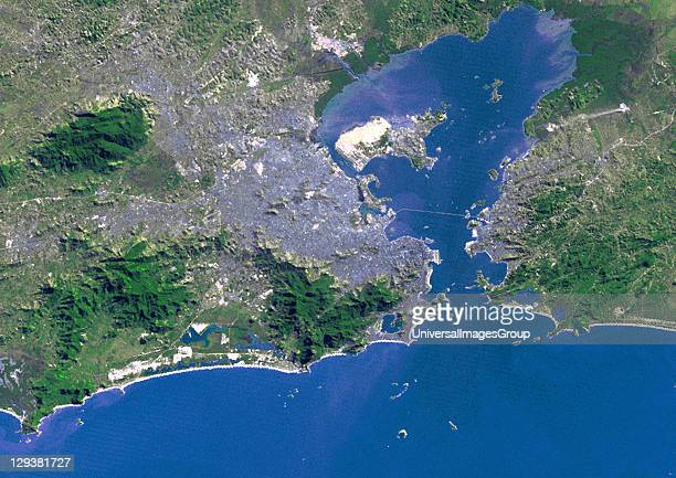 True colour satellite image of the city of Rio de Janeiro Brazil Image taken on 9 July 1975 using LANDSAT data Rio De Janeiro Brazil In 1975 True...