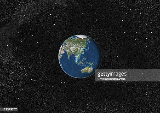 True colour satellite image of the Earth centred on Asia and Oceania This image in orthographic projection was compiled from data acquired by LANDSAT...