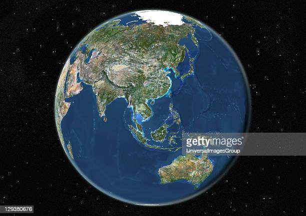 True colour satellite image of the Earth centred on Asia and Oceania during summer solstice at 6 am GMT This image in orthographic projection was...