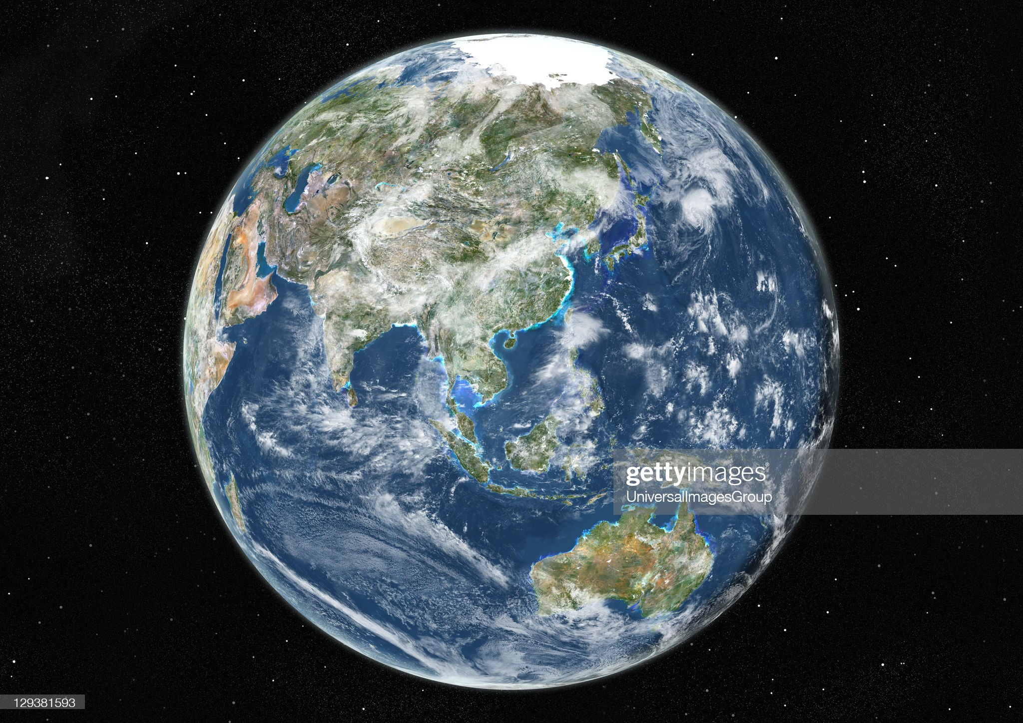 EarthL Globe Centred On Asia And Oceania, True Colour Satellite Image : News Photo