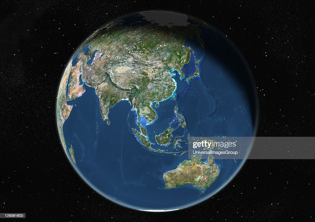 Globe Centred On Asia And Oceania, True Colour Satellite Image : News Photo