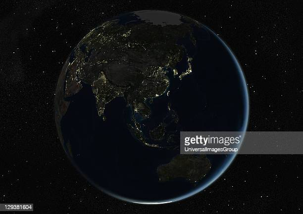 True colour satellite image of the Earth centred on Asia and Oceania during winter solstice at 6 pm GMT This image in orthographic projection was...