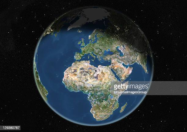True colour satellite image of the Earth centred on Europe and Africa during winter solstice at 12 am GMT This image in orthographic projection was...