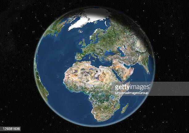 True colour satellite image of the Earth centred on Europe and Africa at the equinox at 12 am GMT This image in orthographic projection was compiled...