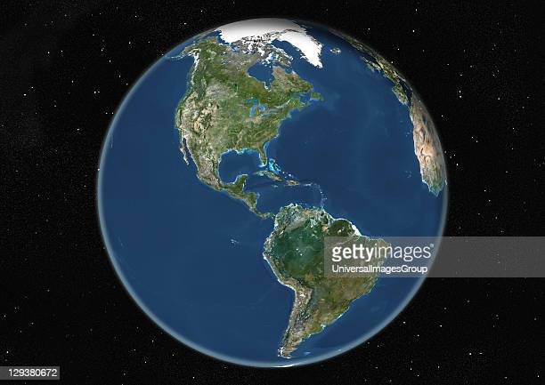 True colour satellite image of the Earth centred on the Americas at the equinox at 6 pm GMT This image in orthographic projection was compiled from...