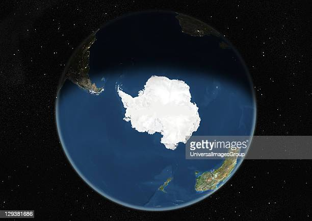 True colour satellite image of the Earth centred on the South Pole during winter solstice at 12 pm GMT This image in orthographic projection was...