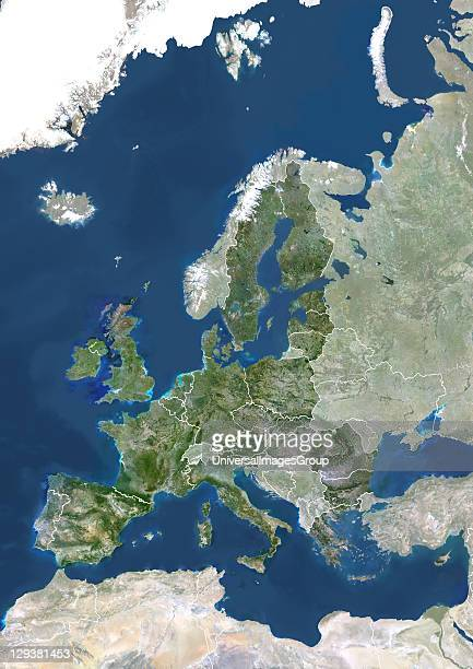 True colour satellite image of the European Union in 2007 showing the 27 member states This image in Lambert Conformal Conic projection was compiled...