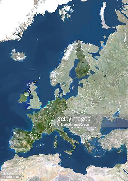 True colour satellite image of the Eurozone in 2008 showing the 15 EU member states officially using the euro This image in Lambert Conformal Conic...