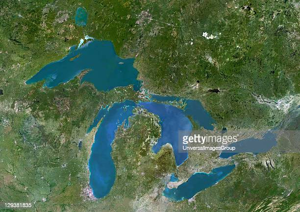 True colour satellite image of the Great Lakes region which includes the Canadian Province of Ontario and eight US states Lakes are from west to east...