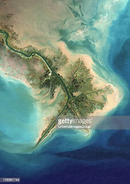 True colour satellite image of the Mississippi River Delta Louisiana USA Turbid waters spill out into the Gulf of Mexico where their suspended...