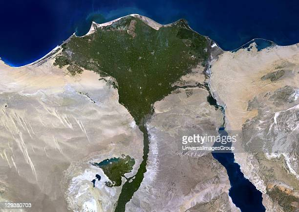 True colour satellite image of the Nile Delta It is formed in Northern Egypt where the Nile River spreads out and drains into the Mediterranean Sea...