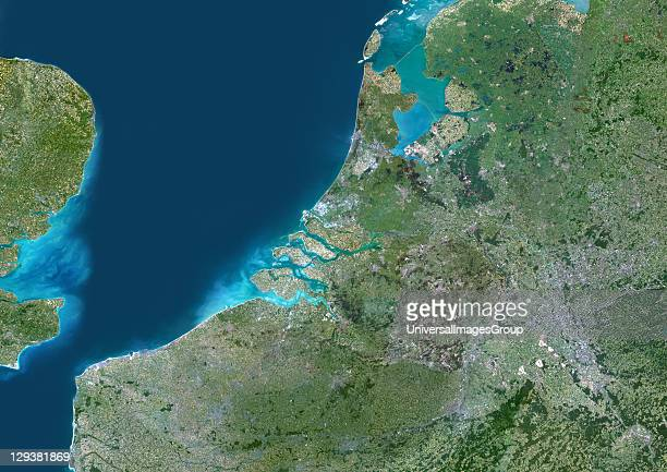 True colour satellite image of the RhineMeuseScheldt delta in the Netherlands It is a river delta formed by the confluence of the Rhine the Meuse and...