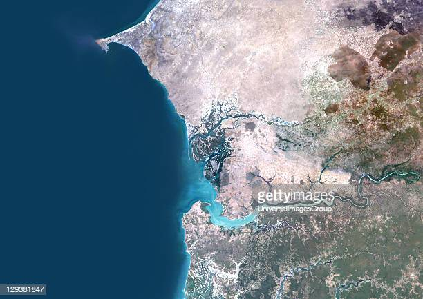 True colour satellite image of the Saloum Delta in Senegal and the Gambia River in Gambia The Saloum Delta is protected as Saloum Delta National Park...