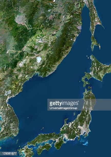 True colour satellite image of the Sea of Japan a sea of the western Pacific Ocean It is bordered by Japan South Korea North Korea and Russia...