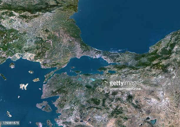 True colour satellite image of the Sea of Marmara the inland sea that connects the Black Sea to the Aegean Sea The Bosphorus Strait connects it to...