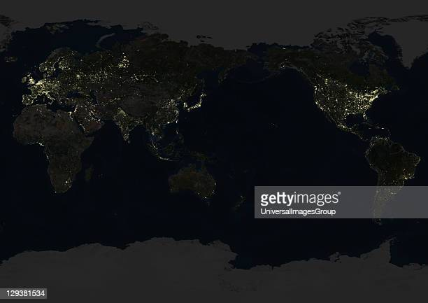 True colour satellite image of the whole Earth at night centred on the Pacific Ocean This image in Miller projection was compiled from data acquired...