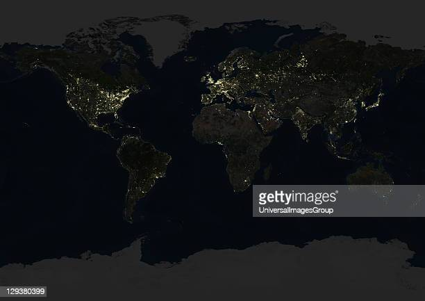 True colour satellite image of the whole Earth at night This image in Miller projection was compiled from data acquired by LANDSAT 5 7 satellites...