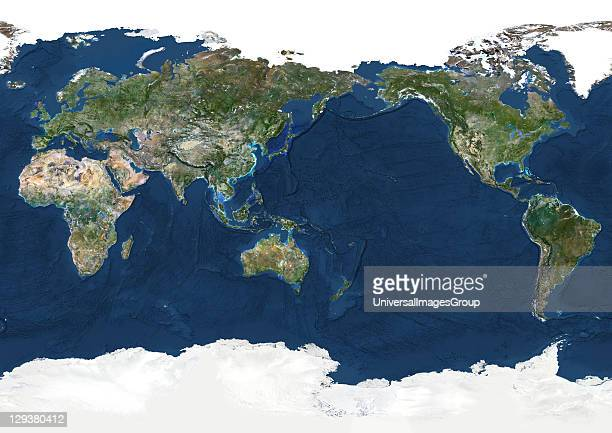 True colour satellite image of the whole Earth centred on the Pacific Ocean with bump effect This image in Miller projection was compiled from data...