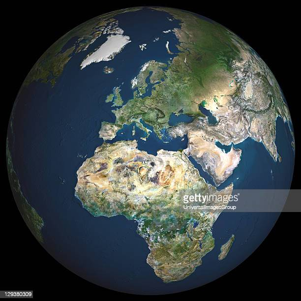 True colour satellite image of the whole earth showing Europe at centre The picture is a composite created from thousands of separate images recorded...