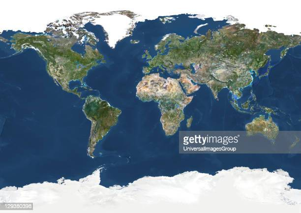 True colour satellite image of the whole Earth This image in Miller projection was compiled from data acquired by LANDSAT 5 7 satellites Whole Earth...