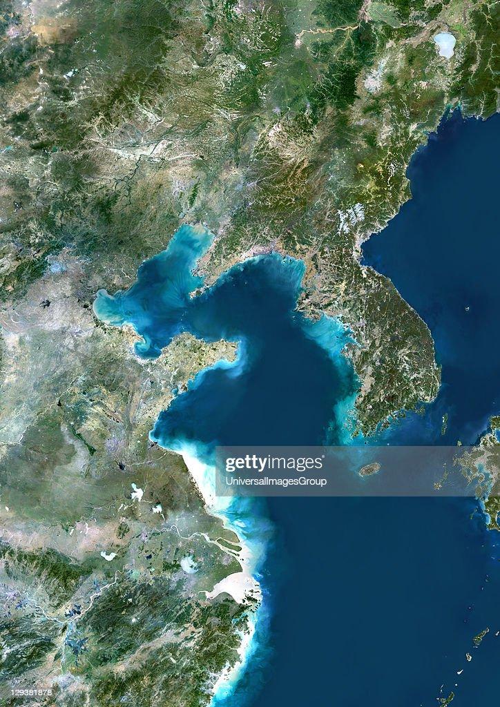 Yellow Sea Location True colour satellite ...
